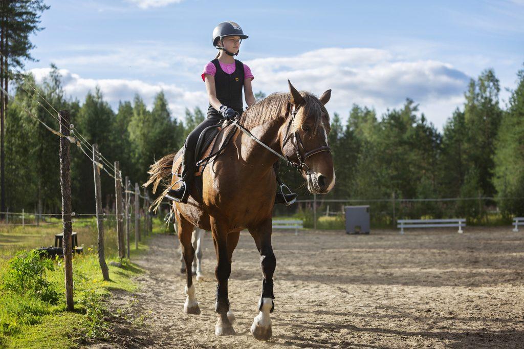 Nuori tyttö ratsastaa kesäpäivänä ulkoaitauksessa.