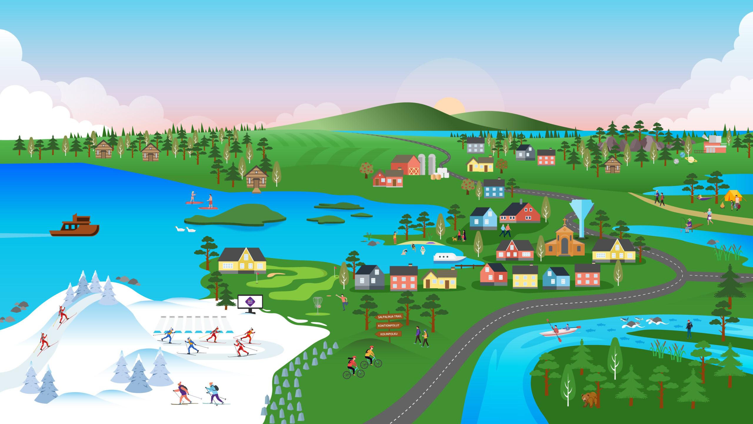 Piirretty kuvitteellinen kartta Kontiolahden alueesta.